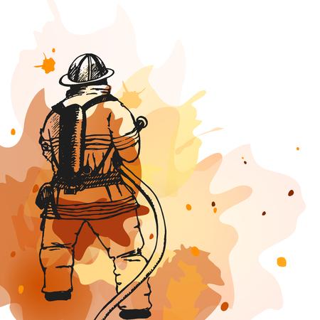 Pompiere con un segno tubo. Illustrazione. Grande per tutto il disegno di sicurezza antincendio Archivio Fotografico - 51063574