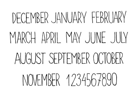 the unique:  painted unique calendar . Month names and numbers.  typography.