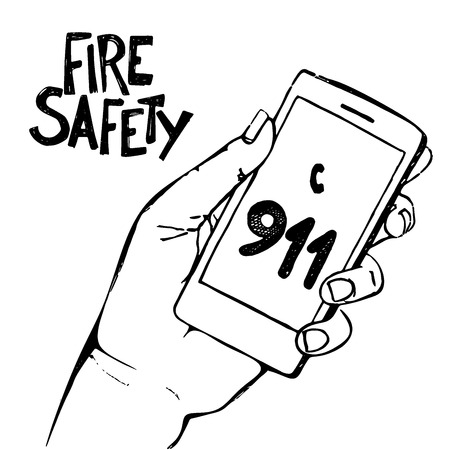 dialing: Hand holding mobile phone with emergency number 911 isolated on white. Great for any safety design . Illustration.