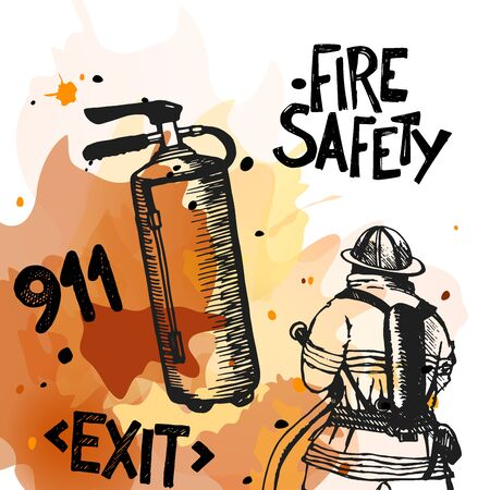 fire fighting equipment: Firefighter with a hose sign. Great for any fire safety design. Illustration. Illustration