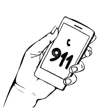 emergency number: Hand holding mobile phone with emergency number 911 isolated on white. Great for any safety design . Illustration.