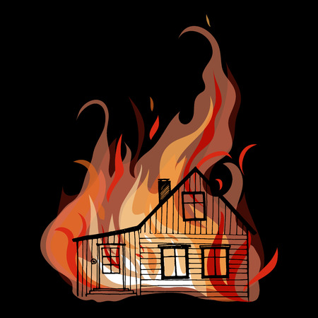 arson: Burning house on dark background. Great for any fire safety and insurance design . Illustration.