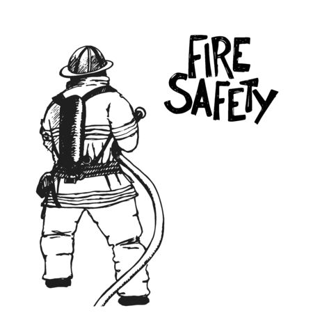 Firefighter with a hose sign. Vector Illustration. Great for any fire safety design progects. Vector Illustration.