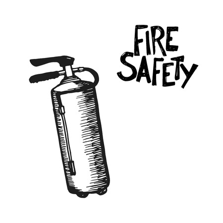 fire department: Hand drawn fire extinguisher. Vector Illustration. Great for any fire safety design progects.
