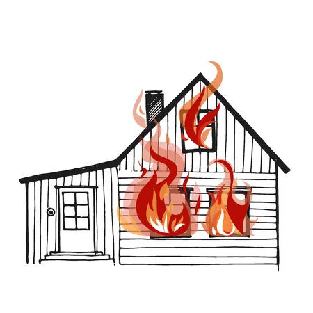 incendio casa: casa en llamas aisladas sobre fondo blanco. Gran diseño para cualquier progects de seguridad contra incendios y de seguros. Ilustración del vector. Vectores