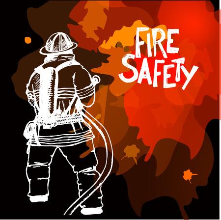 暗い背景上ホースの標識と消防士。ベクトルの図。どんな火災安全設計の progects です。ベクトルの図。