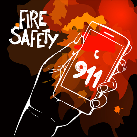 03: Hand holding mobile phone with emergency number 911 on fire background. Great for any safety design progects. Vector Illustration. Illustration