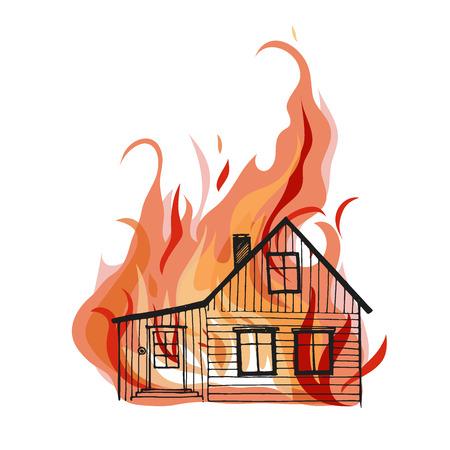 燃えている家は、白い背景で隔離。どんな火災安全と保険設計の progects。ベクトルの図。