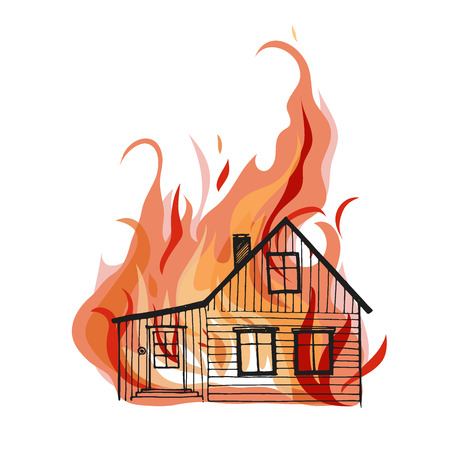 Burning house isolated on white background. Great for any fire safety and insurance design progects. Vector Illustration.