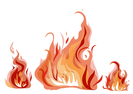 Bright fire flames with sparks isolated on white background. Vector illustration.