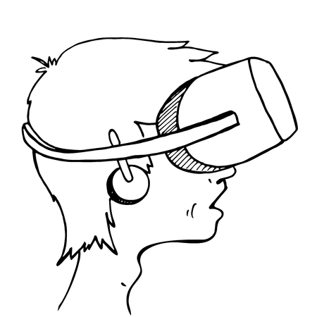 Boy wearing a virtual reality headset on white background. Hand drawn sketch. Vector Illustration. Illustration