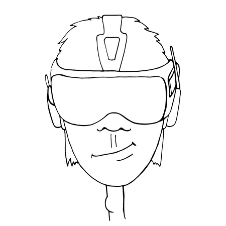 headset: Boy wearing a virtual reality headset on white background. Hand drawn sketch. Vector Illustration. Illustration