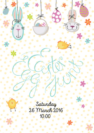 easter egg hunt: Easter egg hunt. Poster or invitation whith Unique hand drawn design phrase and funny elements. on dotted background.