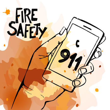 dialing: Hand holding mobile phone with emergency number 911 isolated on white. Great for any safety design progects. Vector Illustration.