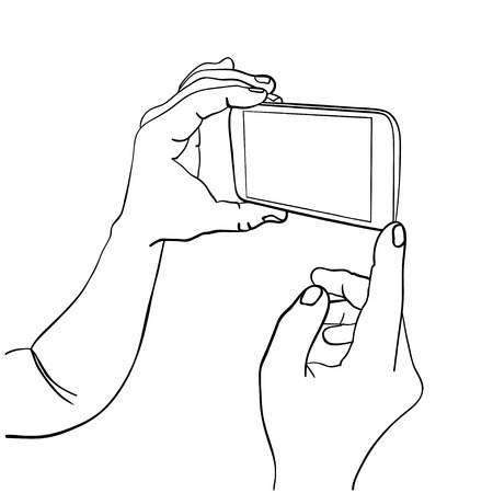 holding smart phone: Hands holding mobile smart phone with empty screen. Sketch isolated on white. Vector Illustration. Illustration