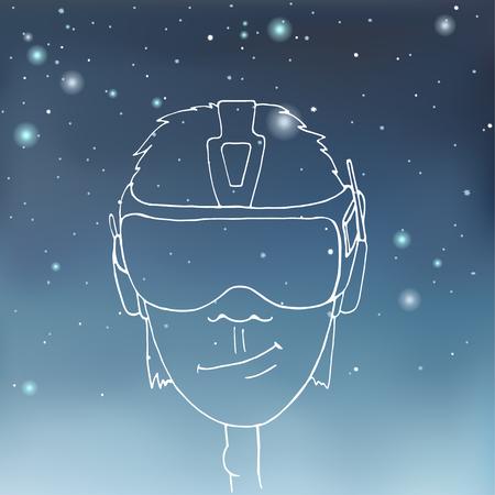 starry sky: Boy wearing a virtual reality headset on starry sky background. Illustration