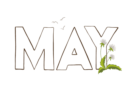 Vercor illustration of May month name. Lettering with dandelion.
