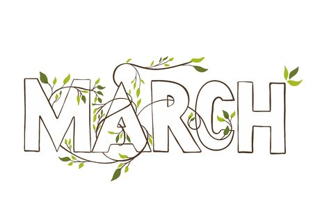 dichromatic: March month name. Lettering with branches and young leaves . Vercor illustration.
