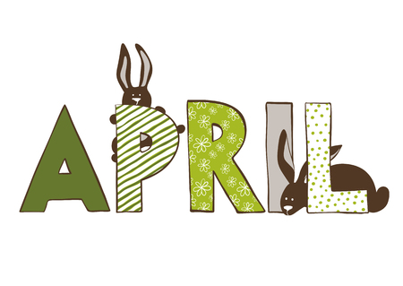 dichromatic: Vercor illustration of April month name. Lettering with rabbits. Illustration