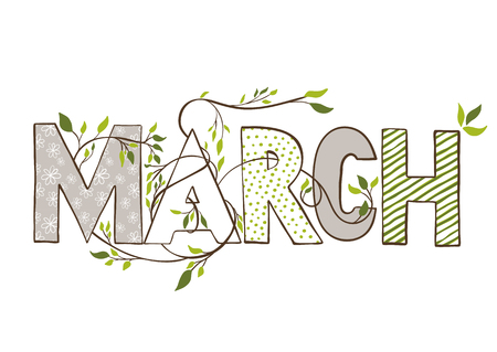 dichromatic: March month name. Lettering with branches and young leaves. Vercor illustration. Illustration