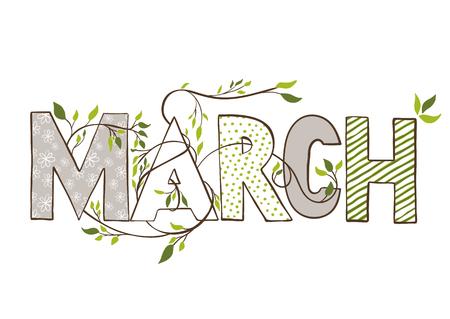 Nome del mese di marzo. Letteratura con rami e foglie giovani. Illustrazione Vercor.
