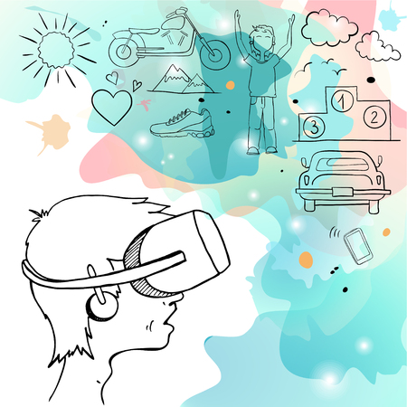 virtual reality simulator: Man in device for virtual reality and the cloud stuff symbolizing the virtual reality. Vector illustration.