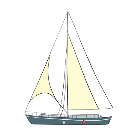 littoral: Sail Boat with black outline. Vector illustration.