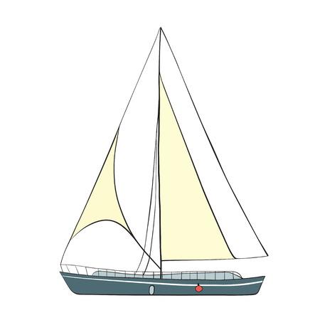 Sail Boat with black outline. Vector illustration.
