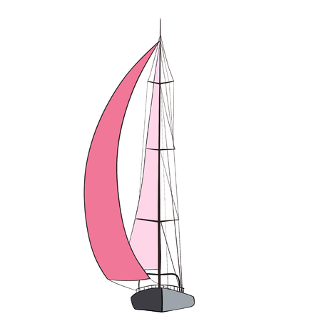 littoral: Sport yacht with red sails. illustration. Illustration