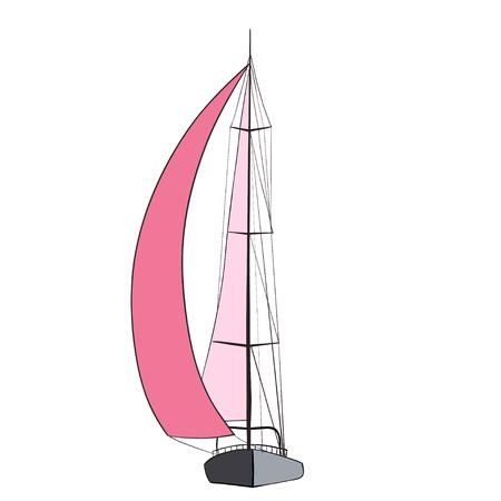 voilier ancien: yacht de sport avec des voiles rouges. illustration.