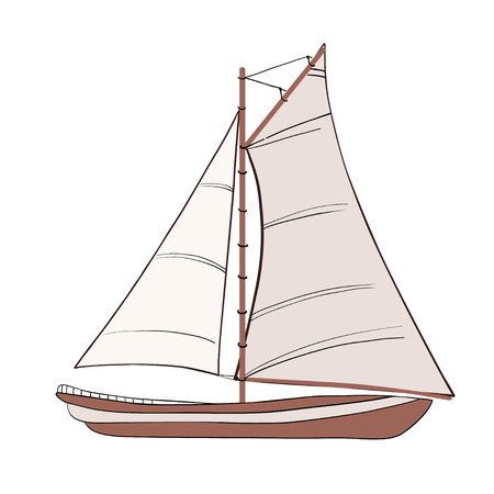 Bateau à voile avec un contour noir. illustration.