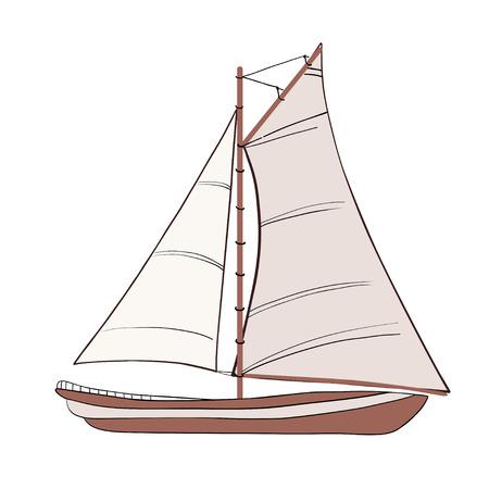 Sail Boat with black outline. illustration.