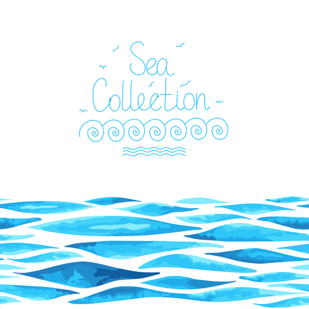 Caribbean sea: Sea background. Seamless horizontal pattern. Imitation of watercolor.