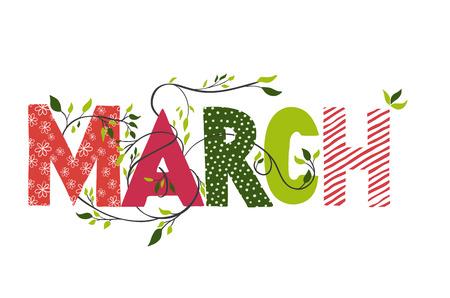 meses del año: Marzo nombre del mes. El deletreado con ramas y hojas jóvenes. ilustración. Vectores