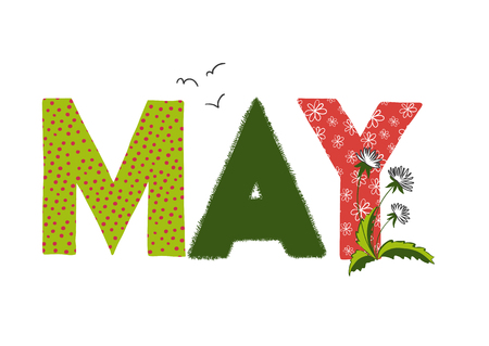 may: illustration of May month name. Lettering with dandelion.