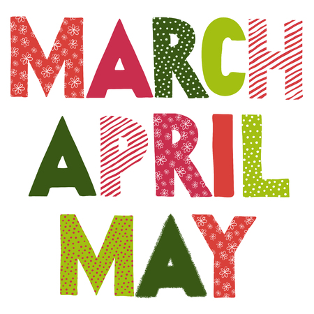 may: Colorful spring month names. March April May. illustration.