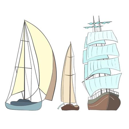voilier ancien: Ensemble de voiliers. Illustration isolé sur blanc Illustration