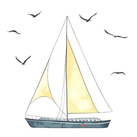 Boot met zeilen en meeuwen in de geïsoleerde op witte achtergrond. Waterverf het imitatie. Sport jacht, zeilboot.