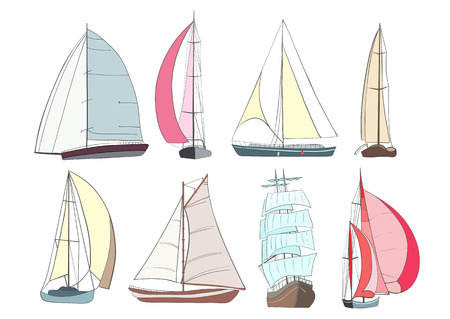 Set of boats with sails  made in the isolated on white background. Sport yacht, sailboat. Vettoriali