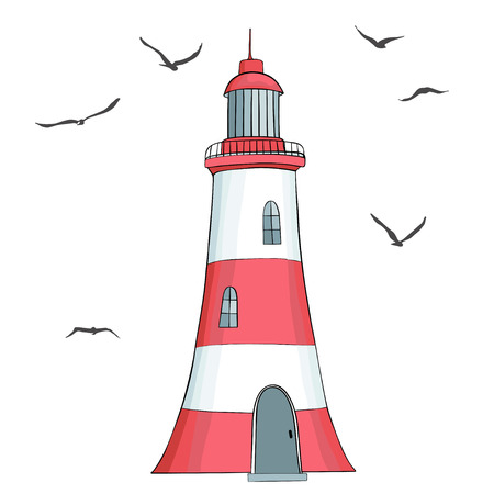 solated: Lighthouse and seagulls solated on white background Illustration