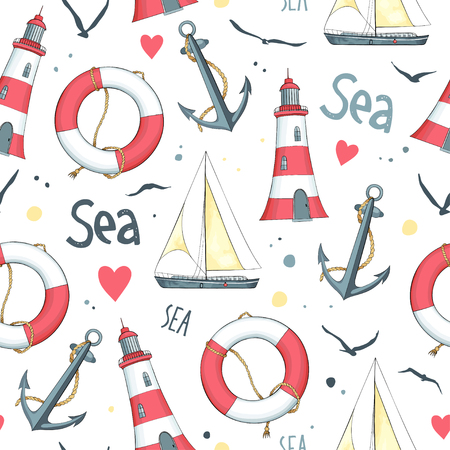Nautical pattern with sailboat, seagulls, life buoy, anchor and lighthouse. White background. Ilustração