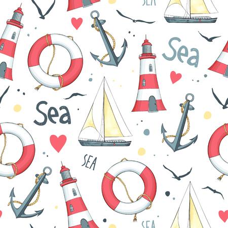 Nautische patroon met zeilboot, meeuwen, reddingsboei, anker en de vuurtoren. Witte achtergrond.