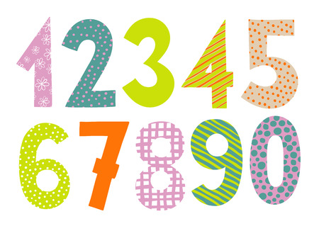 numbers abstract: Numbers 0-9 letters . Funny colorful numbers set. Count numbers set isolated on white background Illustration