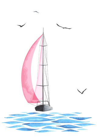 Sailboat in the sea and seagulls. Objects  isolated on white background. Watercolor imitation. Sport yacht, sailboat.
