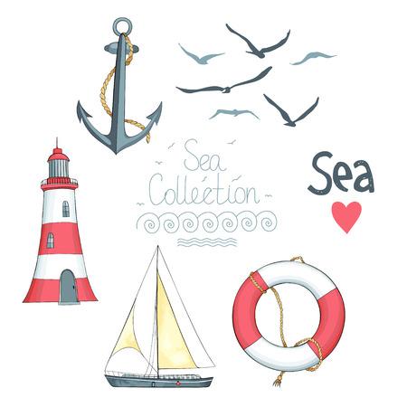 Conjunto de objetos náuticos. Hay faro, barco de vela, salvavidas, gaviotas y SEA palabra con el corazón.