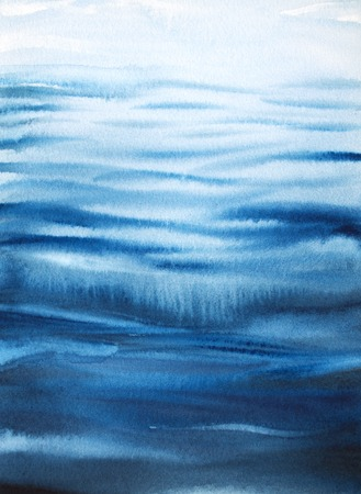 Water surface with small waves. Watercolor sea background.