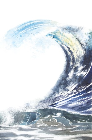 wind surfing: Watercolor illustration of a strong wave, raging sea, storm. Marine background. Surfing Waves Stock Photo
