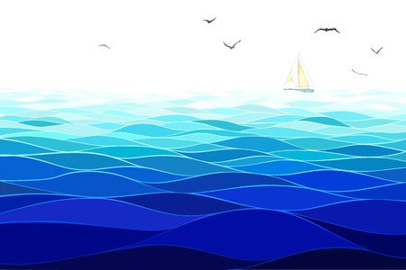 Sea background. Horizontal pattern. Imitation of watercolor.