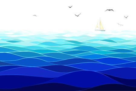 Sea background. Horizontal pattern. Imitation of watercolor.