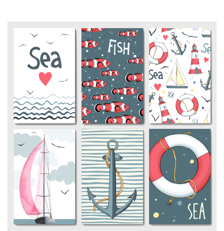 yacht: Set of 6 lovely cards templates with marine design. A lot of nautical elements